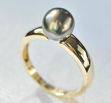 TAHITIAN BLACK PEARL GOLD RING. 8.5mm CULTURED PEARL SET ON 9K GOLD BAND. SIZE Q