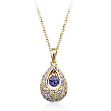 18K ROSE G/P GENUINE CLEAR & PURPLE  SWAROVSKI CRYSTAL AND CZ  NECKLACE
