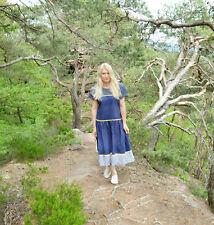 Evana 80er Vintage Retro Kleid Baumwolle blau ca. Gr 44 46 blau weiß gelb Damen
