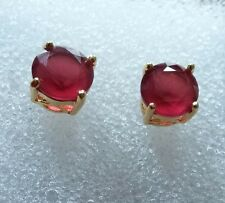 L06 Plum UK 7mm round red rubies, 18ct yellow gold filled stud earrings GFT BOXD
