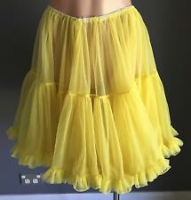 Pre-owned PINUP ROCKABILLY YELLOW Net Petticoat With Frill Trim Fits Sizes 10-14