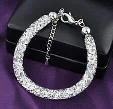White Gold Plated Stardust Charm Bracelet Filled with Swarovski Elements