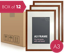 Box of 12 - A3 Walnut Photo Frame + Mat Board - A3 Picture Frames Wall Decor