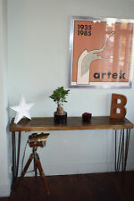 Rustic Industrial Console Table  Mid Century Modern Style hairpin Table