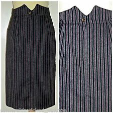 VINTAGE 80S PINSTRIPED HIGH WAISTED PENCIL SKIRT UK 8