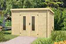 28 mm Gartenhaus ca. 300x300 cm Gerätehaus Schuppen Blockhaus Pultdachhaus