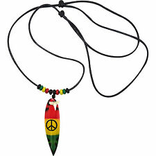 Wood Surfboard Pendant Shark Tooth Necklace Chain Wooden Rasta Peace Sign Symbol