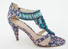 LOTUS LADIES DUFFY BLUE PINK MULTI COLOURED TEXTILE HEELS SANDALS WOMENS UK 7-40