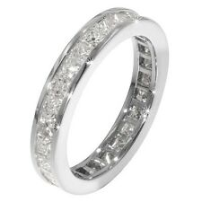 SILVER ETERNITY LADIES THICK BAND CREATED DIAMOND DESIGNER RING size N [6.5]