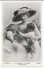 ROYALTY - QUEEN of SPAIN & CHILDREN Beagles Real Photo Postcard