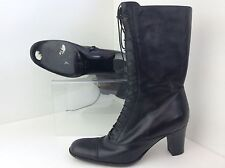 STUNNING PIED A TERRE BLACK LEATHER LINED LACE UP BOOTS, SZ 4 1/2, WORN ONCE
