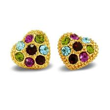 Ladies Crystal Heart Shape Stud Earrings 18ct Gold Filled Multi-Colour BE842