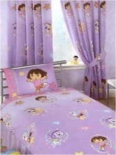 "Dora The Explorer Swirl 100% Cotton Curtains 66"" x 54"" With Tie Backs - Lilac"