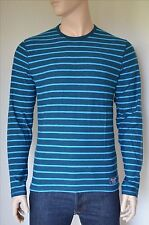 NEW Abercrombie & Fitch Long Sleeve Striped Crew Tee T-Shirt Blue L