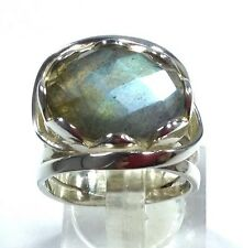 Labradorite Oval Solid Sterling Silver ring, new, UK size M, Faceted.