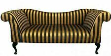Double arm chaise/sofa in black and gold stripe