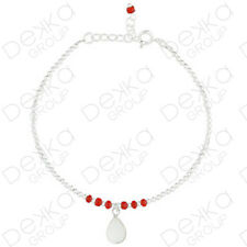 925 Sterling Silver Teardrop Charm Mother Of Pearl & Red Bead Ball Bracelet