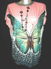 WOMENS LADIES ONESIZE batwing sequence BUTTERFLY print  top t-shirt tunic 3755