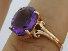 R080- SUPERB Genuine 9ct Solid Rose Gold LARGE Natural Amethyst Ring size P
