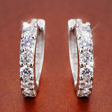Fashion 925 Sterling Silver Plated Crystal  Single Row Earring Hoop Huggie