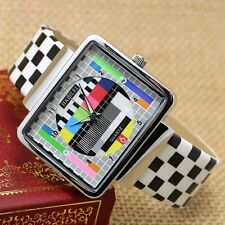 Unique Rectangle TV Dial Leather Women Men Gifts Sport Quartz Wrist Watch Gifts