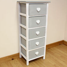 White & Grey Wooden Cabinet For Girls Bedroom/Furniture Chest Of Drawers/Tallboy
