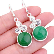 New Women Natural Green Jade Round Gemstone White Gold Plated Earring Jewelry