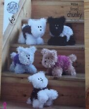 PUPPY DOGS  TOY KNITTING PATTERN  USING TINSEL CHUNKY YARN KING COLE 9056