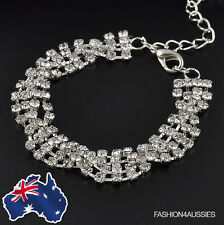 Silver Womens Bracelet ~ Rhinestone ~ Clear Crystal Chain Simple Wrist Jewelry