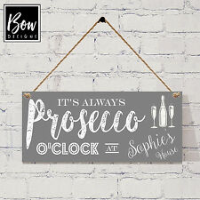 165 GREY PERSONALISED Prosecco Wine / Gin O'Clock new house warming gift.