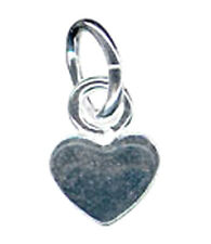 5 TINY STERLING SILVER HEART CHARMS / PENDANTS + OPEN OVAL JUMP RING, 4 X 6 MM