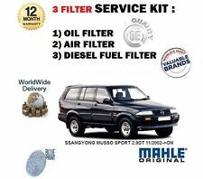FOR SSANGYONG MUSSO SPORT 2.9DT 11/2002- ON OIL AIR FUEL FILTER SERVICE KIT