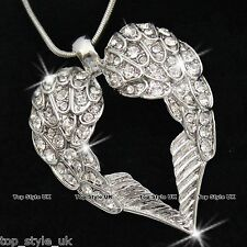 BLACK FRIDAY DEALS White Gold Angel Wings Crystal Heart Necklace Xmas Gifts W5