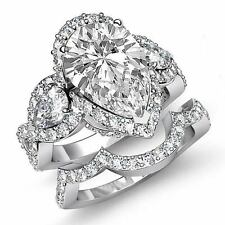 3 Stone Pave Pear Bridal Set Diamond Engagement Ring GIA G VS2 Platinum 3.88 ct