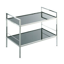 2 Tier New Modern Black Tempered Glass & Chrome Shelf Shelving TV Display Unit