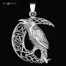 """Lisa Parker Sterling Silver Pendant: """"Celtic Moon Raven"""" Wicca Pagan Pentagram"""