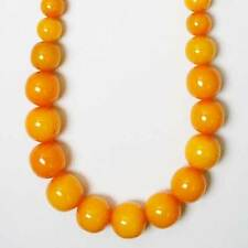 DAZZLING HANDCRAFTED AMBER HONEY COLOR JUMBO ROUND BEADED STATEMENT NECKLACE