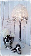 Tischlampe Lüsterlampe Metall Tropfen Franske Vintage Silber Weiß Tischleuchte