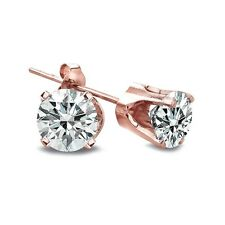 1/4 Ct Round Diamond 14K Rose Gold Stud Earrings, H-I, I2-I3