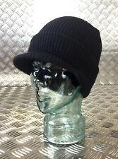 Genuine US Army BLACK Peak Hat /Watch Cap 100% Wool NEW