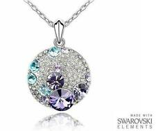 Made with Swarovski Elements Purple, Blue and Clear Round Pendant and Necklace
