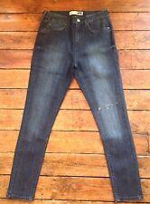 Topshop Moto Skinny Ripped Knee Jeans Blue Sz 8 W26 Fit L25 Petite New ~342