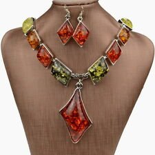 Exquisite Silver Amber Gem Bib Statement Necklace Earrings Jewelry Set NA2451K