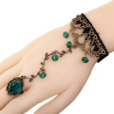 New Jewelry Black Lace Metal Chain Bangle Green Crystal Flower Bracelet Ring Set