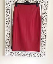 Zara Red Faux Leather Midi Skirt, Size Small UK 8-10 New