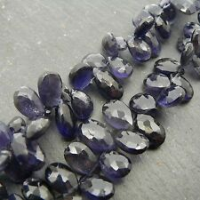 Iolite Faceted Pear Briolette Beads (set of 5) Semi Precious Gemstone