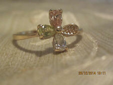 Yellow Gold Filled  Ring with Pink and Clear Swarovski Crystal Flower - Size 7