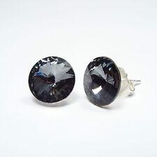 Ohrringe Ohrstecker 925 Sterling Silber mit Swarovski Kristallen 10 mm Schwarz