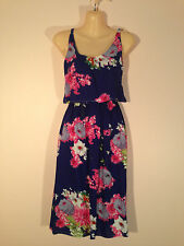 Women's One Size Navy Mid Length Dress with Pink & White Flowers