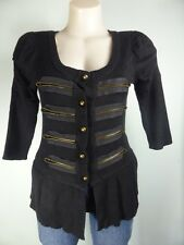 COOPER STREET black military style button front cardigan knit top sz M 10